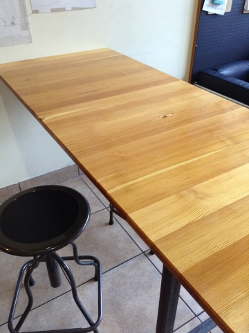 reclaimed pine table top for coffee shop